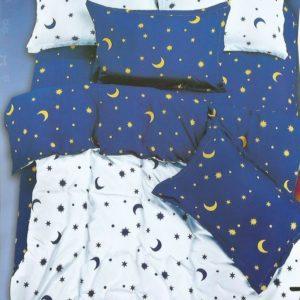 Lenjerie alba cu luna si stele