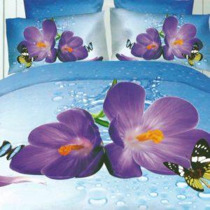 Lenjerie albastra cu flori mov