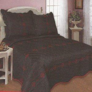 Cuvertura de pat neagra cu flori rosii