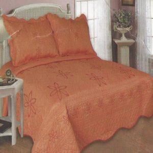 Cuvertura pat din bumbac cu insertii florale