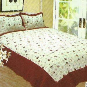 Cuvertura pat alba cu maro si insertii florale