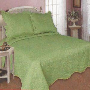 Cuvertura de pat verde cu margine crem