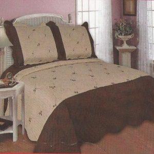 Cuvertura de pat maro cu bej pentru doua persoane