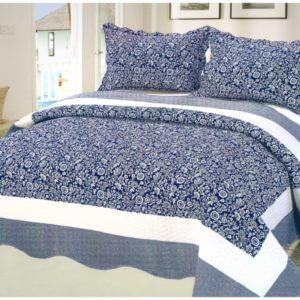 Cuvertura pat albastru din bumbac
