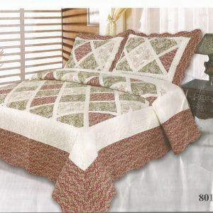 Cuvertura pat din bumbac alb cu grena