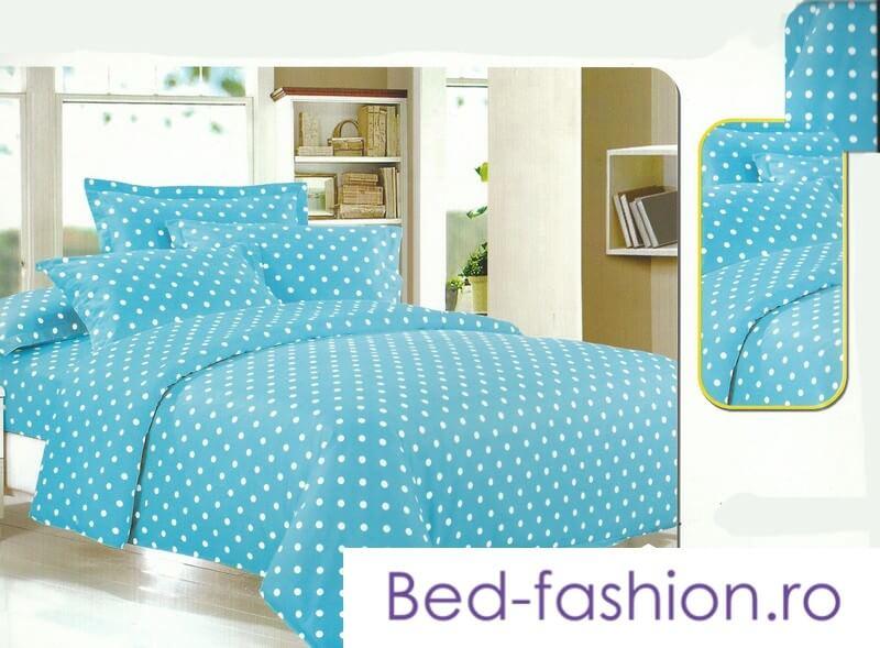 Lenjerie de pat albastra din bumbac cu finet