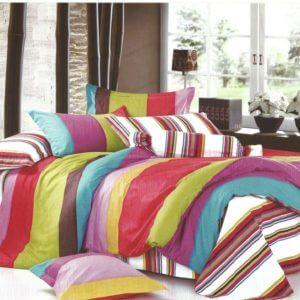 Lenjerie de pat multicolora din bumbac cu finet