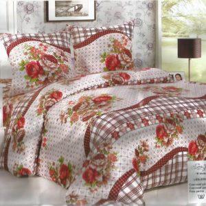 Lenjerie de pat cu flori bej pentru 2 persoane