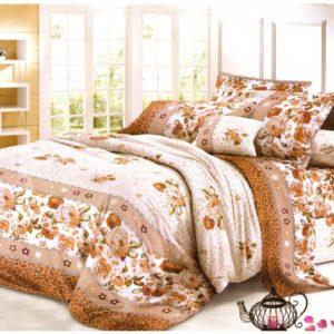 Lenjerie de pat maro cu flori pentru 2 persoane