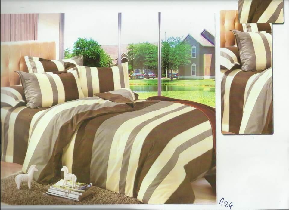 Lenjerie pat, 2 persoane, maronie, cu dungi