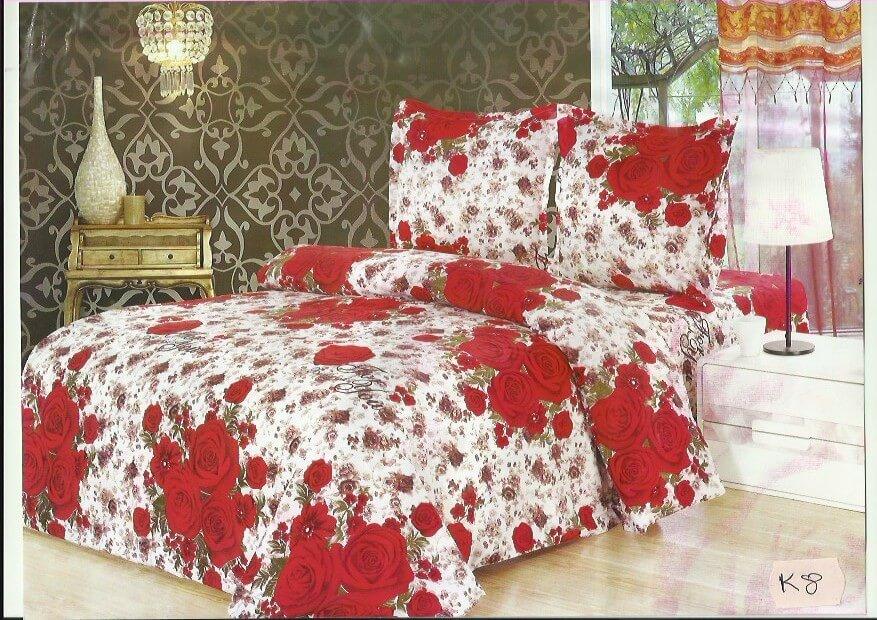 Lenjerie pat cu trandafiri alb si rosu