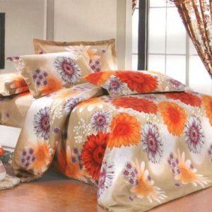 Lenjerie pat dublu model flori de toamna
