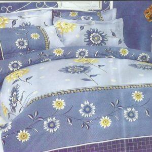 Lenjerie pat ieftina albastra cu flori