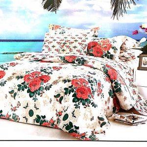 Lenjerie de pat cu model floral rosu cu verde
