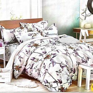 Lenjerie de pat alba cu model floral