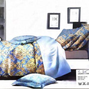 Lenjerie de pat eleganta auriu cu albastru