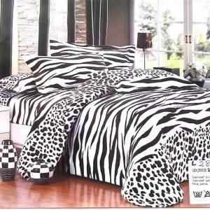 Lenjerie pat in doua culori alb si negru
