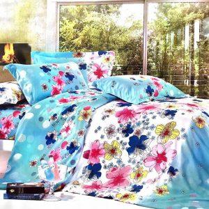 Lenjerie de pat cu flori multicolore