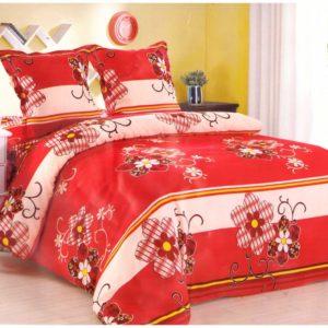 Lenjerie de pat cu trandafir rosu