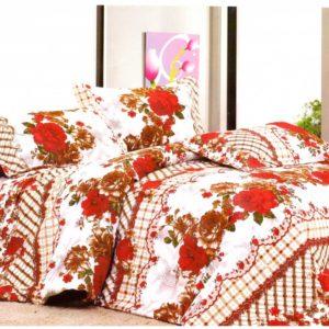 Lenjerie de pat din bumbac cu trandafiri rosii